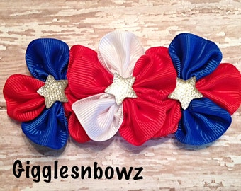 Stars and Stripes Grosgrain Ribbon Flower- 4th of July Flower- Grosgrain Cluster Flowers- USA Red White and Blue- 4 inch across- Diy supply