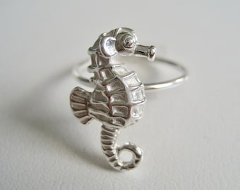 Seahorse Ring Sterling Silver, Seahorse Jewelry, Beach Jewelry, Birthday Gift, Coworker Gift, Gift for Woman