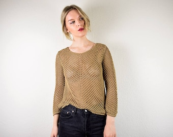 Vintage 90s Knitted Top Medium Large, Brown Crochet Blouse, Long Sleeve Knitted Top, Sheer Knitted Top, Boho 70s Style Top, 90s Clothing