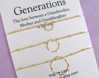 Mother Daughter Grandmother Jewelry Set-60th Birthday Gift -GENERATIONS Jewelry-Grandmother Mother Daughter-Grandmother Mother Granddaughter