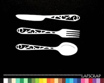 Covered cuts fork knife spoon scrapbooking embellishment die cut scrap album deco