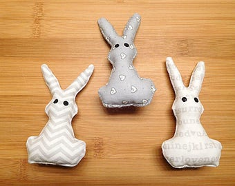 Easter Rabbit Ornaments Gray and White Bowl Fillers Spring Decor