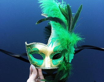 Masquerade Mask, Feather Masquerade Mask, Feather Masks, Mardi Gras Mask, Mardi Gras Masks, Masquerade Ball, Feather Mask [Gold | Green]