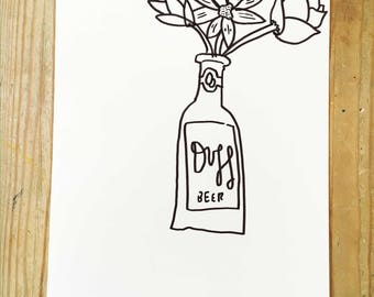 Duff Beer and Flowers | A5 Original Drawing | Super Cute Heart Warming Illustration Gift