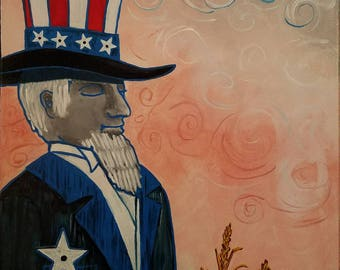 Wooden Sam 12x16 acrylic canvas stretched back-stapled.  Patriotic, Amber waves of grain, stars stripes, praying, Free Standard Shipping!