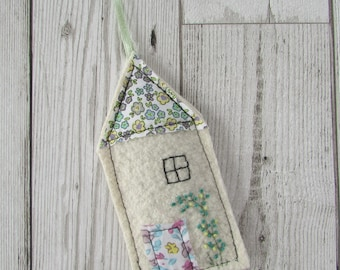 Little House Lavender Bag, Upcycled Felt Embroidered Scented Sachet, Mothers Day Gift
