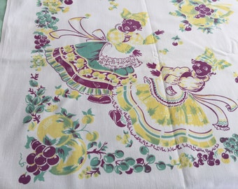 Vintage Black Americana Tablecloth 40's Green Yellow and Purple