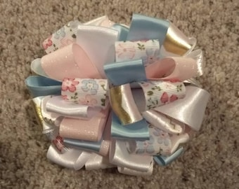 Floral-glitter pink & blue- Puffy Loop Bow