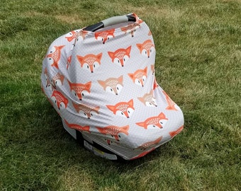 Gray Fox || Stretchy 4 in 1 Baby Car Seat Cover || Nursing Cover