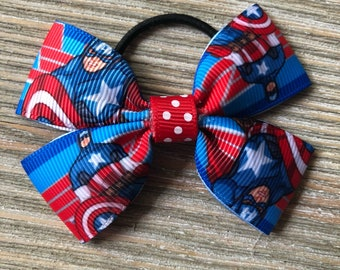 Captain America Avengers Inspired Mini Bow Magic Band or Apple Watch Band Bow 2.5 inches Elastic