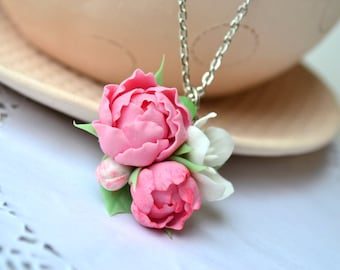 Pink peonies necklace pendant Sakura apple cherry blossom necklace Flower necklace Polymer clay flower necklace jewelry Bridesmaid gift