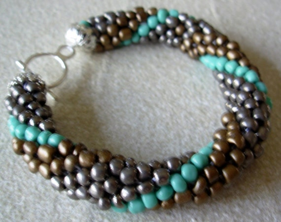 Copper, Pewter, and Turquoise Crochet Beaded Bangle