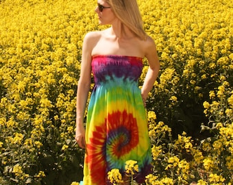 Tie Dye Dress Strapless with Ruffle in Rainbow from Boho Couture - Large  MOVING SALE