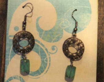 Ornate Metal and Blue Green Earrings
