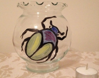 Hand Painted Votive Holder with Scarab Beetle Design