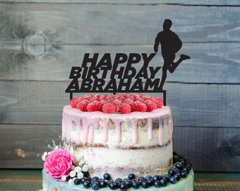 Runner Birthday Cake Topper- Customizable Birthday Cake Topper- Runner Cake Topper- Silhouette Runner Cake Topper- Personalized cake topper