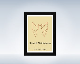 Philosophy art - Jean-Paul Sartre - philosophical origami minimalistic print on paper or canvas up to A0 size inspired by a philosophy book