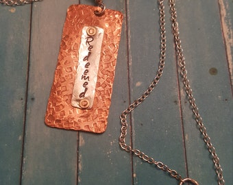 """Riveted Mixed Metal """"Redeemed"""" Pendant Necklace"""