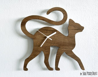 Cat Walking - Wooden Wall Clock