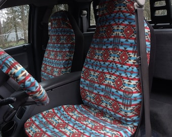 1 Set of Ethnic Fream Catcher Print Car Seat Covers and Steering Wheel Cover, Custom made.