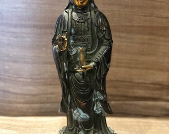"""Vintage Brass Quan Yin, Quan Yin goddess, 14.5"""" Quan Yin, green guanyin, Statue, Fine old Chinese"""