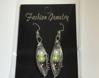 Multi Pea Pod Dangle Earrings