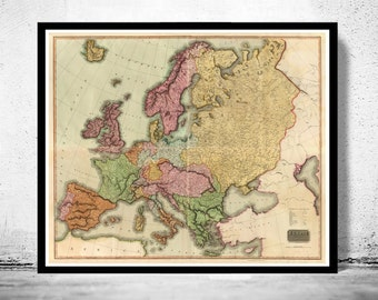 Beautiful Old Map of Europe 1816