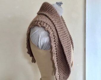 Hand Knit Shawl Natural Brown Triangle Scarf Merino Wool Natural Undyed Small Size