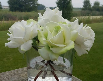 White & Lime Green Roses Realistic Touch in Glass Cylinder Vase with Faux Water, Silk Flower Arrangement