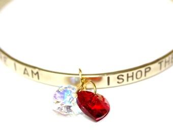 Womans gold tone bracelet, with Swarovski heart, I Shop Therefore I Am, brass, contemporary, boho, bangle, bracelet with tekst, ships free