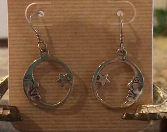 Sterling silver vintage moon earrings