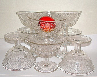 8 Glass Dessert Cups Small Bowls Vintage with Crackle Texture Glass Pedestal Base Many Uses: Fruit Ice Cream Small Salad Beverage etc.