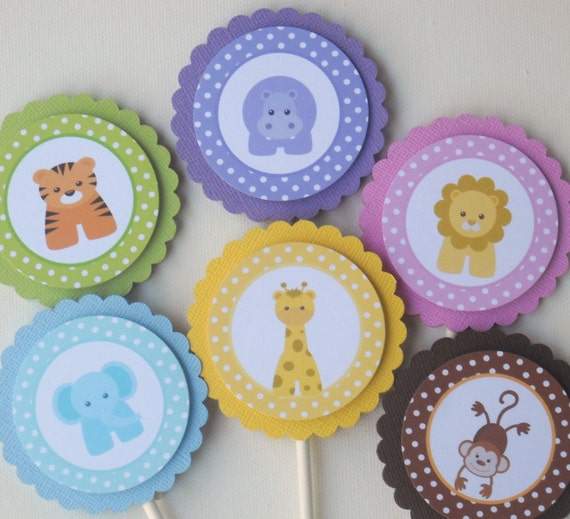Baby Jungle Or Zoo Animals Cupcake Toppers/ Set Of 12/ Cute
