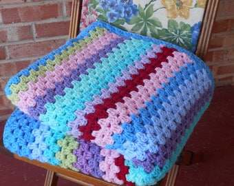 Crochet afghan sofa throw,stripe blanket, Cath Kidston colors,colorful Granny stripes, soft handmade crochet blanket, Ready to ship