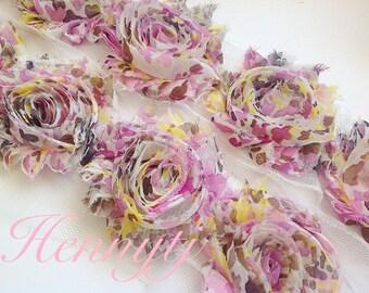 ONE yard PINK Lemonade Shabby Rose Trim - Shabby Chiffon Rosettes - pink yellow tan Printed Shabby Chiffon Trim