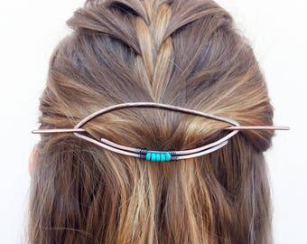 Turquoise hair slide Metal hair pin Boho hair barrette Rustic copper hair holder Shawl pin Womens accessories Womens gift For her Hair clip