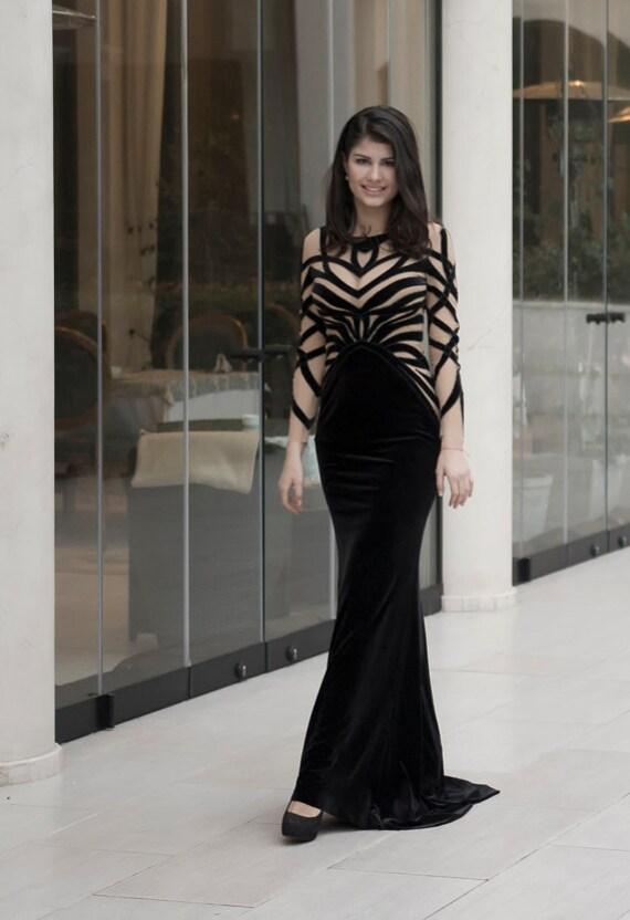 Samt Abendkleid lange schwarze formelle Kleidung aus Plüsch