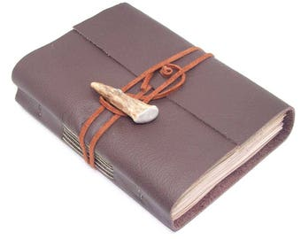 Leather Journal with Tea Stained Paper , Antler Closure , Brown Journal , For Him Birthday , Boyfriend Gift , Nature Journal