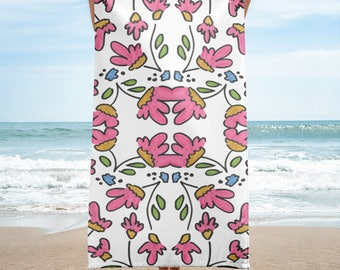 Terrycloth Towel - Graffiti Rose (Pink)