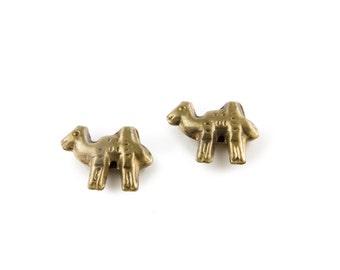 Vintage Brass Camel Beads