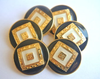 6 Vintage metal buttons black with white enamel design with gold color 25mm