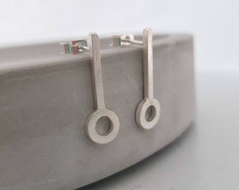 Long Silver Studs, Sterling Silver Studs, Handmade Silver Studs, Unusual Silver Earrings, Long Studs, Link Earrings, Silver Drop Earrings