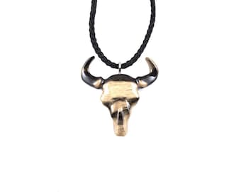 Bull Pendant, Bull Skull Necklace, Ox Necklace, Bison Necklace, Wooden Buffalo Pendant, Mens Necklace, Taurus Jewelry, Tribal Totem Jewelry