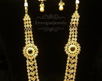 Indian necklace, Rani Har, Polki jewelry, South Indian jewelry, Traditional Indian jewelry, multilayered necklace, Temple Jewelry, Bollywood