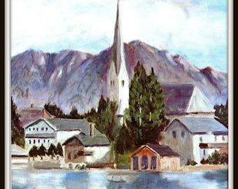 Lake Village  painted by Eisenhower Pl 14. Dwight Eisenhower President, D Eisenhower artist, General Eisenhower,