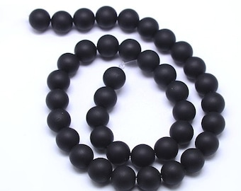 10 frosted black agate round beads 8mm grade A