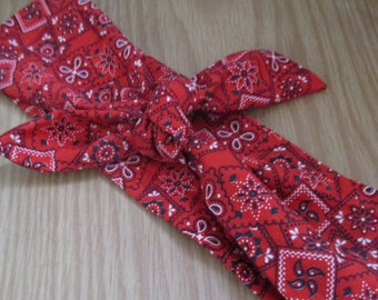 Womens Headband, RED Bandana Print, SALE Bandana Headband, Bohemian Hair Band, HairBand, PinUp Bandana, 339