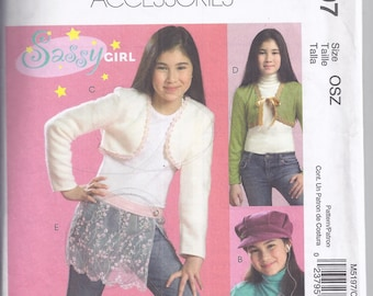 McCall's M5197 Sewing Pattern from 2006.  Girls' Hats, Boleros, Shimmy Scarf, Bag and Cell Phone Case.  One size.
