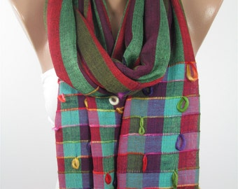 Mothers Day Gift For Her Plaid Scarf Green Scarf Shawl Check Scarf Flannel Cowl Scarf Gift For Mom Holiday clothing gift