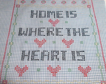 """Vintage """"Home Is Where The Heart Is"""" Cross Stitch Sampler"""
